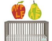 Wall Stickers for Nursery, Apple and Pear, Set of 2, Nursery Decor, Playroom Decals, Kids Room