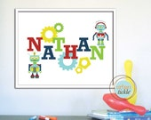 Personalized Name for Child's room or Nursery - Robots-11X14 Inches, Play Room decor, Birthday gift, baby shower gift idea