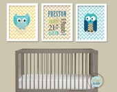 Art for Nursery, Birth Announcement print Set- Owls and Chevron - 8.5X11 Inches, Nursery Art. Gift for Baby, Birthday Gift