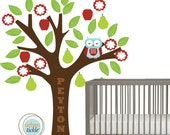 Tree Decal for Nursery or Playroom- Little Sleepy Owl and Fruit Tree- LARGE, 48X60 Inches, Nurery Artwork, Wall Stickers, Baby Gift