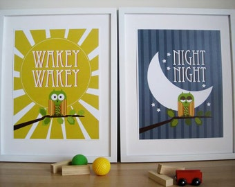 OWL Art for Kids Wall Print , Owl Art for Nursery - Set of 2 - 8X10, Night and Wakey