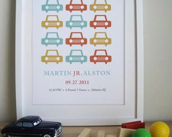 Modern Custom Birth Announcement - Baby Boys - Cars- 11X14 Inches