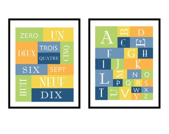 Art for Children, Nursery -French Numbers and Letters- - Graphic Grid- 11X14 Set of 2