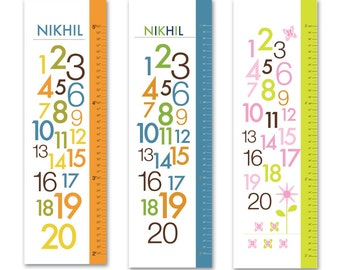 "Canvas Personalized Growth Chart for Children- 123 Numbers- 13"" X42"" Inches"
