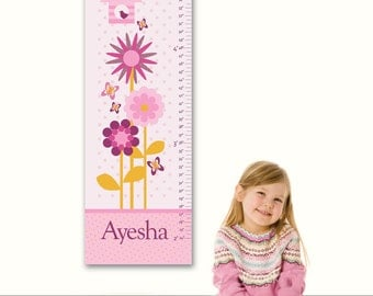 "Growth Chart Height Chart Personalized for Children- Garden BirdHouse 13"" X42"" Inches"