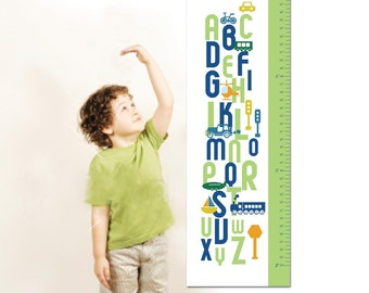 "Personalized Canvas Growth Chart or Height Chart for Children- ABC Transportation- 13"" X42"" Inches"