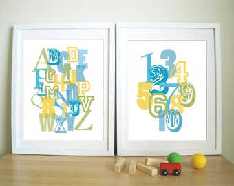 ABC and 123 Wall prints for Children's Room or Nursery - Set of 2- Overlapping ABC and 123 - 8X10, More Sizes
