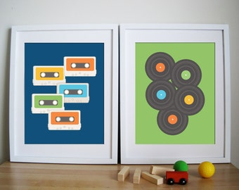 Retro Vintage Art Print- Cassette Tape and LP - Remember the Time 8.5X11 Inches, other sizes