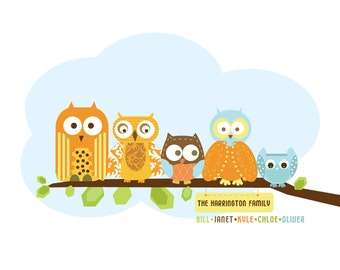 Family Art print for Nursery- Personalized Owl Family- 11X14 Inches, Other sizes