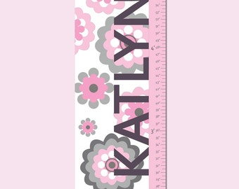 "Canvas Growth Chart - Girly Doily- 13"" X42"" Inches, Free Personalization"