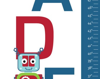 "Personalized Robots Growth Chart Canvas for Boys- Robots- 13"" X42"" Inches"