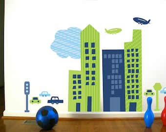 Wall Decals Wall Stickers for Kids- CityScape, Boys Rooms