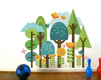 Wall Decals for Kids- Enchanted ForestScape- LARGE, More custom options available