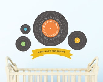 Retro Wall Decals for Children, LP Record, Music