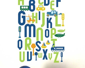 Alphabet Wall Decal for Kids, ABC Transportation, Custom color and sizes, Reusable