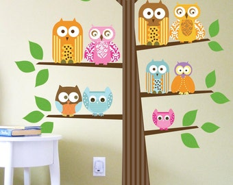 Owl Printed Wall Sticker for Kids, Family of Owls, Large Size