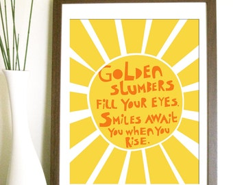 Modern Nursery Art Print- Golden Slumbers - 11X14 Inches, other sizes