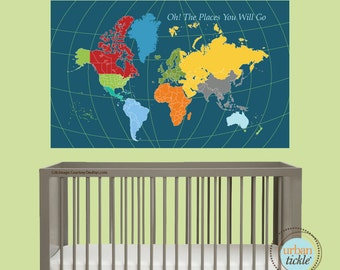 World Map Decal for Kids, World Map Sticker, 45X60 inches, Nursery Decor, Baby Room, Play room ideas