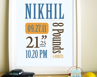 Personalized Birth Announcement Poster Print - Boy Or Girl, 8.5X11 Inches