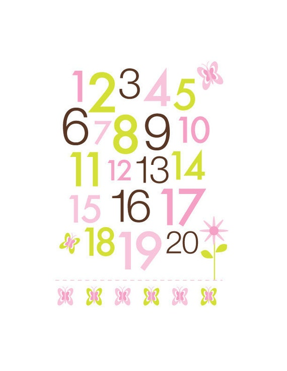 Print for Nursery - First 123 - Baby Girl