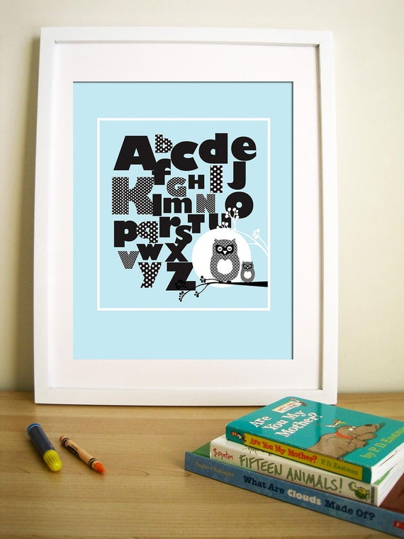 "Modern Art for Baby Nursery, Print- Owl and Alphabets - Black And White - 11"" X 14"" Inches"