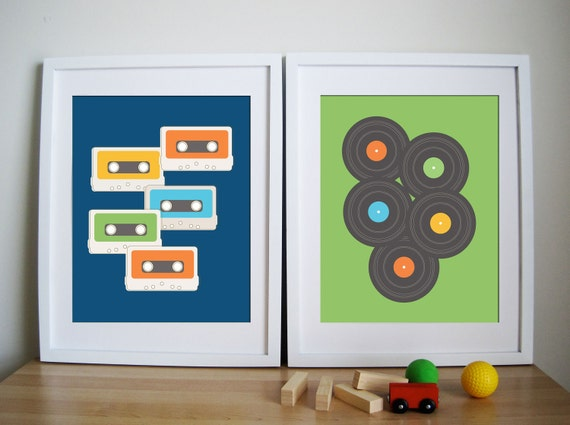 CUSTOM ORDER, Retro Vintage Art Print- Cassette Tape and LP - Remember the Time 11X14 Inches, other sizes