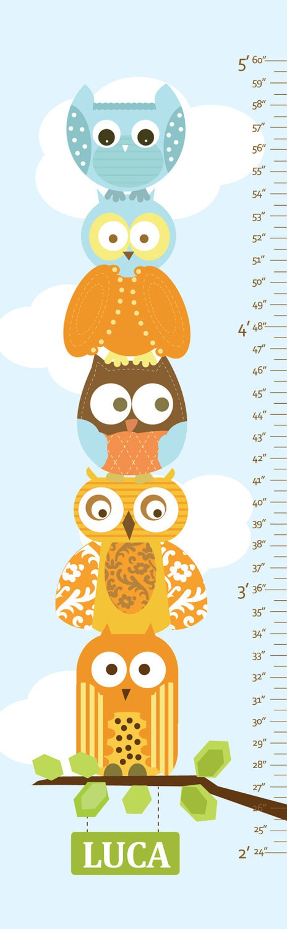 "Owl Growth Chart on Canvas - Stacked Owls- 13"" X42"" Inches"