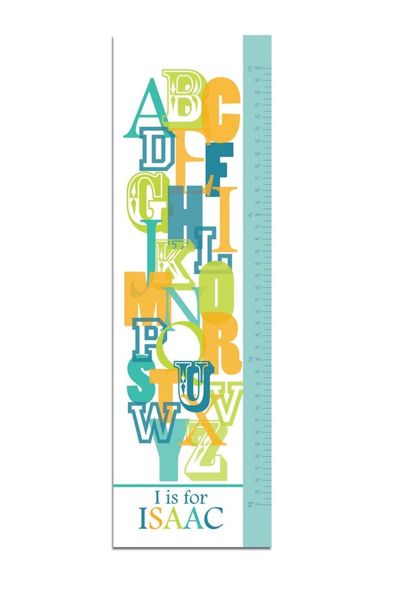 "Canvas Growth Chart or Height Chart for Children- Overlapping ABC- 13"" X42"" Inches, Free Personalization"