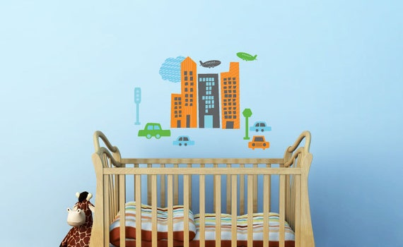 Decals for Kids- CityScape, Extra Small, More custom options available
