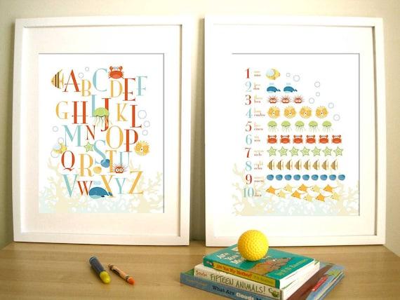 Seaworld, Set of 2 Prints, Art for Child's room or Nursery - ABC and 123 Deep Blue Sea - 11X14