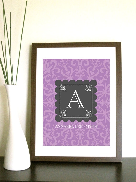 Monogram Print -Damask Background - 8.5X11 Inches, other sizes available