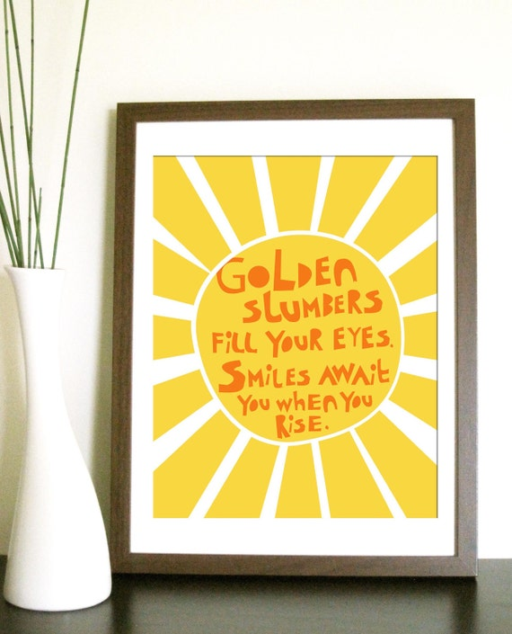 Modern Nursery Art Print- Golden Slumbers - 8.5X11 Inches, other sizes