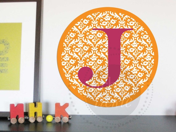 Monogram Decal for Children- Patterned Circle, 11.5 Inches Round, Choose colors and Initial