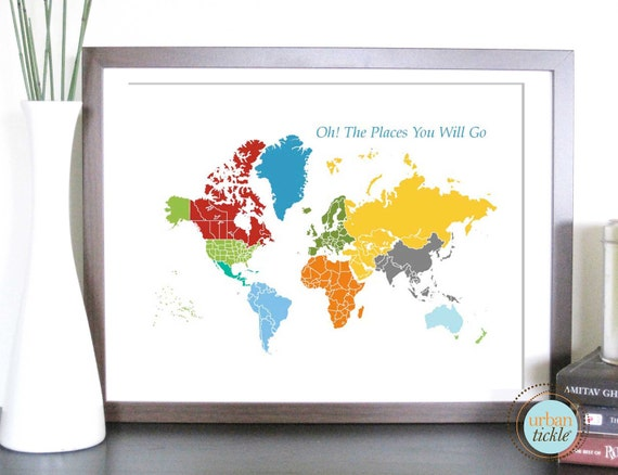 World Map Art for Kids, Print  for Nursery -World and Places -24x36 Inches, Birthday Gift, Baby Gift