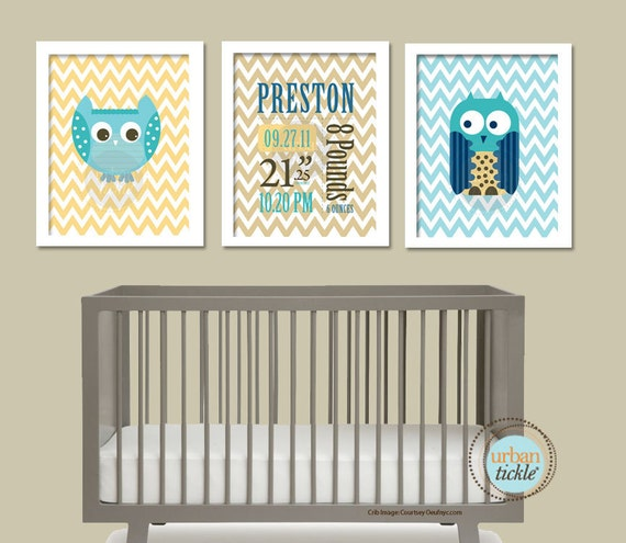 Owl Art for Nursery, Birth Announcement print Set- Owls and Chevron, 8.5X11 Inches, Nursery Art. Gift for Baby, Owl gift