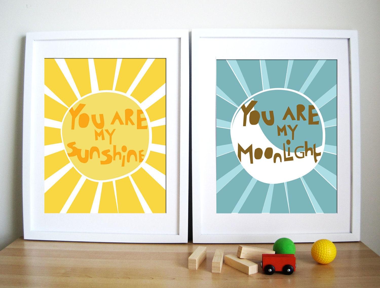 modern nursery art print sunshine and moonlight gift for - 🔎zoom