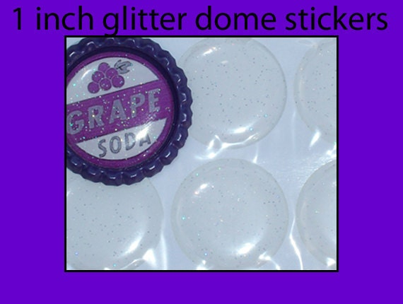 Glitter Epoxy domes, stickers, bottle cap domes, dots - 1 inch - Qty 50