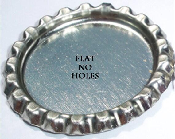 Flat silver bottle caps, bottle cap, cabochon, charms - NO HOLE - Qty 100