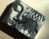 Buddha Wood Pill Box - Square Design - black distress