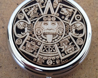 Engraved Aztec Calendar Wood Pocket  Pill Box - Purse Pill Organizer, Medicine Box, Retro Pill Container,Medication Container Pill Organizer