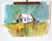 farmhouse watercolor painting