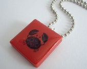 Crab Necklace Recycled Rubber Stamped Ceramic Tile Pendant