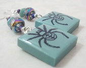 Spider Earrings Rubber Stamped Porcelain Tile Turquoise