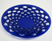 Blue Acrylic Stacked Layer Wavy Bowl Scroll Saw Hand Cut