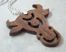 Taurus the Bull Necklace  Zodiac Scroll Saw Wood Pendant Walnut  Hand Cut