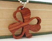 Shamrock Necklace St. Patrick's Day Ireland Bubinga Hand Cut Scroll Saw Pendant
