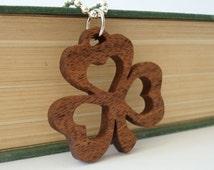St. Patrick's Day Shamrock Clover Necklace Ireland Bubinga Hand Cut Scroll Saw Pendant