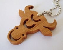 Zodiac Jewelry Taurus the Bull Necklace Scroll Saw Wood Pendant Cherry Hand Cut