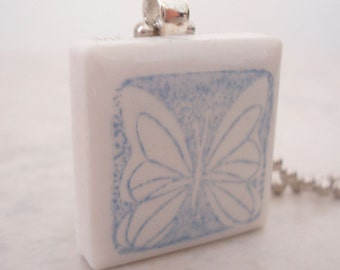 CLEARANCE: Butterfly Necklace Rubber Stamped Recycled Ceramic Tile Pendant