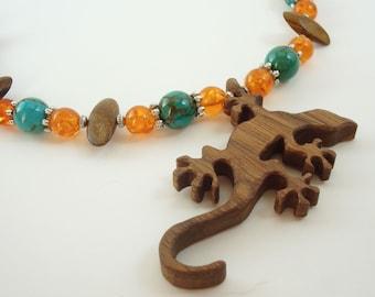 Lizard  Gecko Necklace Turquoise  Amber Wood Hand Cut Scroll Saw Walnut